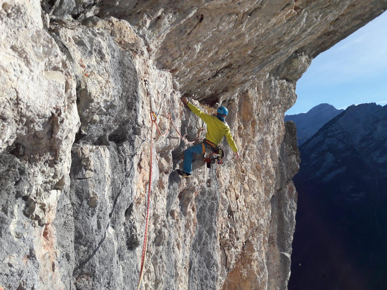 Boulderwelt Athlet Steffen in Schneidige Indianer einer Mehrseillänge